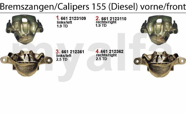 Bremssattel vorne Diesel-Modelle