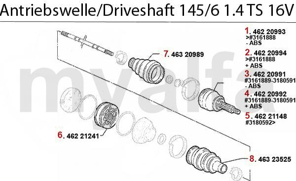 Antriebswelle 1.4 TS 16V Bj. 96>