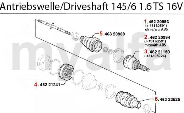 Antriebswelle 1.6 TS 16V Bj. 96>
