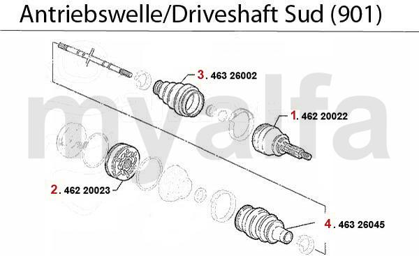 Antriebswelle Sud (901) 1.2/1.3/1.5/TI