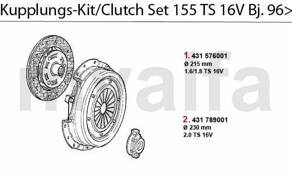 Kupplungs-Kit TS 16V Bj. 5.96>